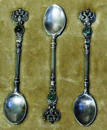 set of silver coffee spoons with alexandrite antique