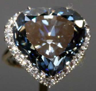 The 30.62 carat Blue Heart Diamond ring
