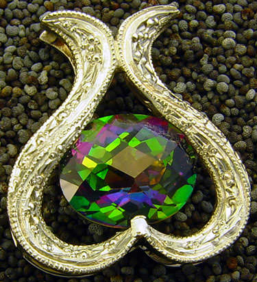 gold mystic topaz pendant real gemstone treated