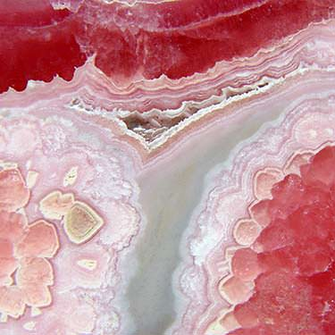Closeup of banded rhodochrosite