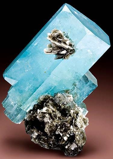 Aquamarine crystal with muscovite