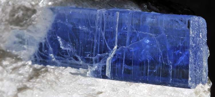 Blue kyanite crystal on paragonite