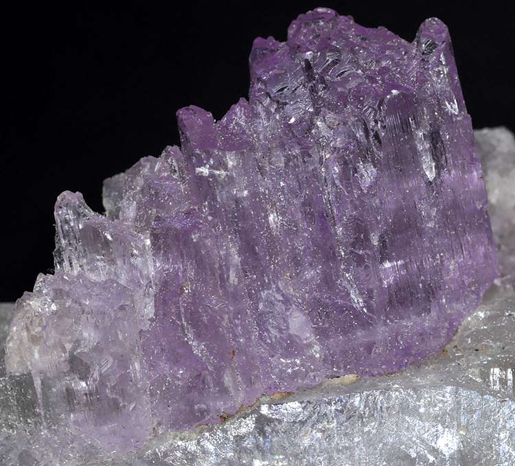 Kunzite on white quartz