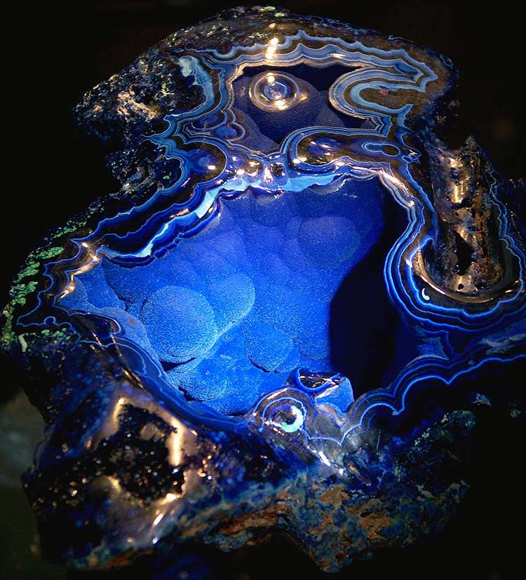 Azurite specimen called the 'Velvet Beauty' found in 1890 in Bisbee, Arizona