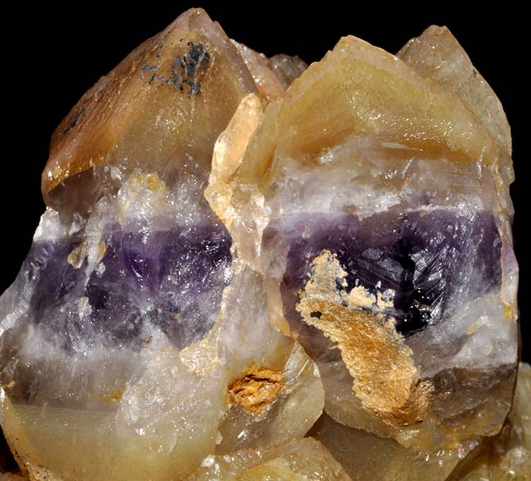 A beautiful example of amethyst that turned to citrine through natural heating.
