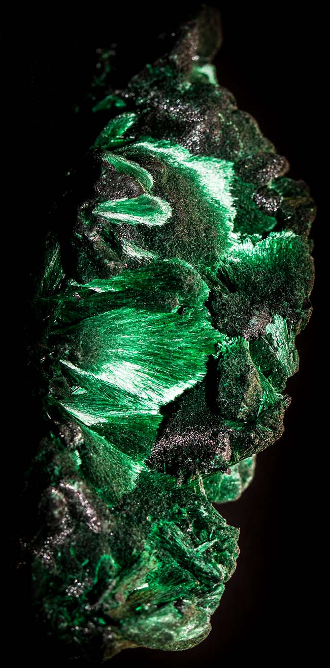 Fibrous malachite from the Congo