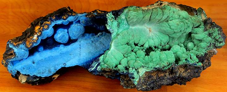 Azurite (blue) and malachite (green) in one specimen