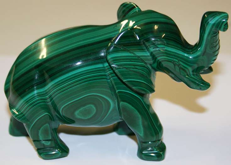 Malachite elephant carving