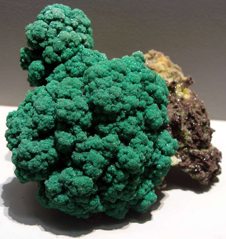Malachite with quartz crystals from Namibia