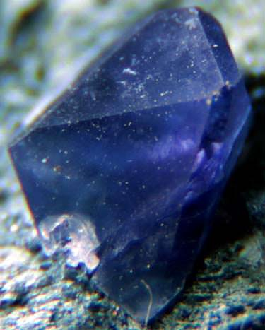 Single benitoite crystal on matrix