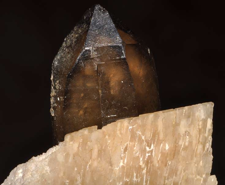 Smoky quartz on an orthoclase matrix