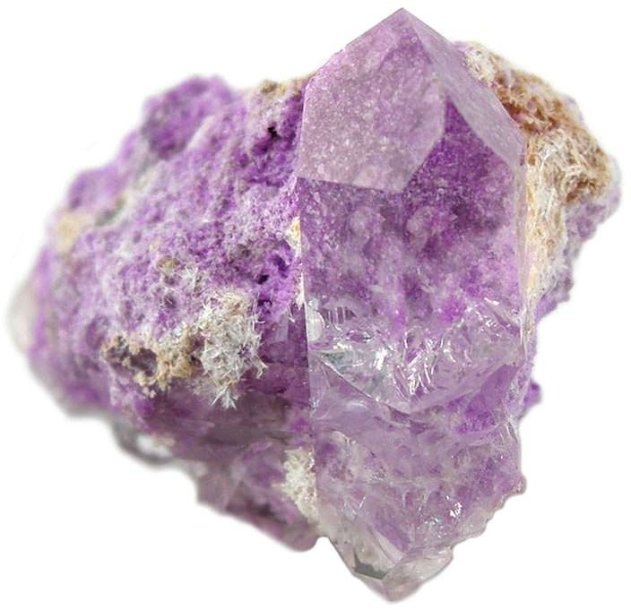 Quartz crystal on sugilite