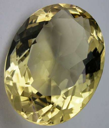 Oval cut yellow citrine gemstone