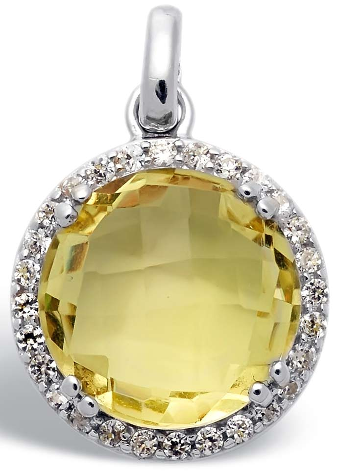 Round cut citrine surrounded by diamonds