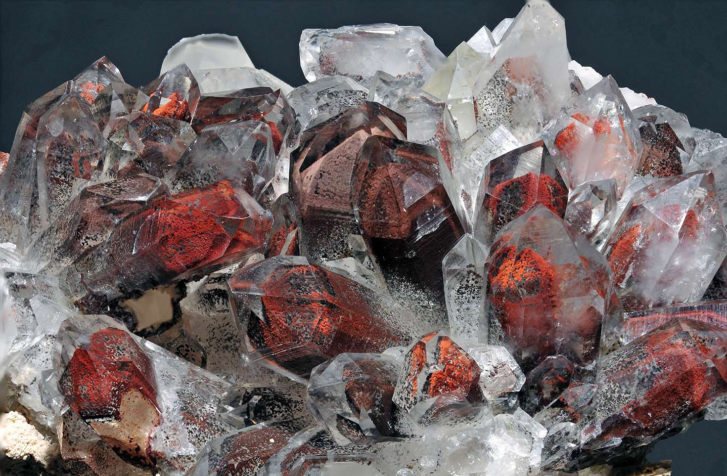 Quartz crystals with hematite (red stains) from South Africa