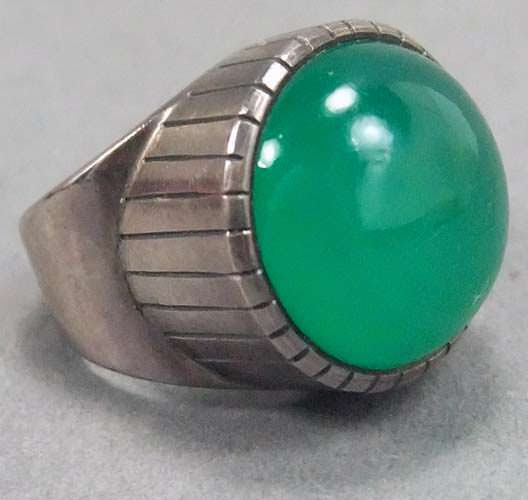 Vintage chrysoprase ring from Sweden, 1954