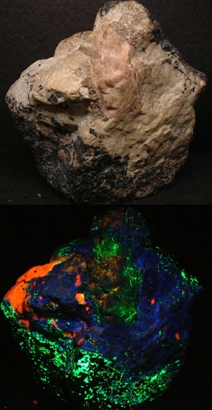 Fluorescent minerals and rocks
