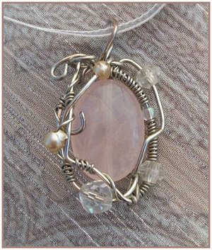 Rose quartz wire wrapped pendant