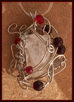 Wire wrapped danburite pendant