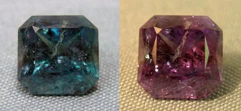 medium quality alexandrite color change composition with inclusions