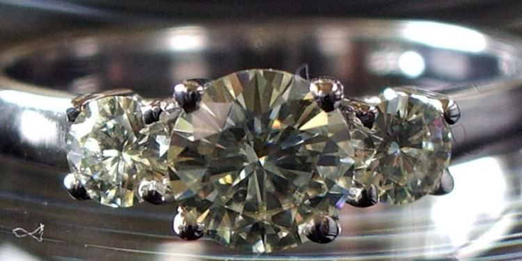 3-stone synthetic moissanite engagement ring