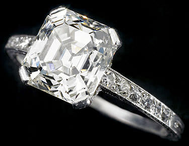 Asscher cut diamond in a channel setting