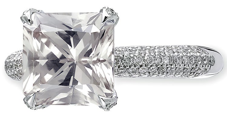 Princess cut diamond in a white gold pavé setting