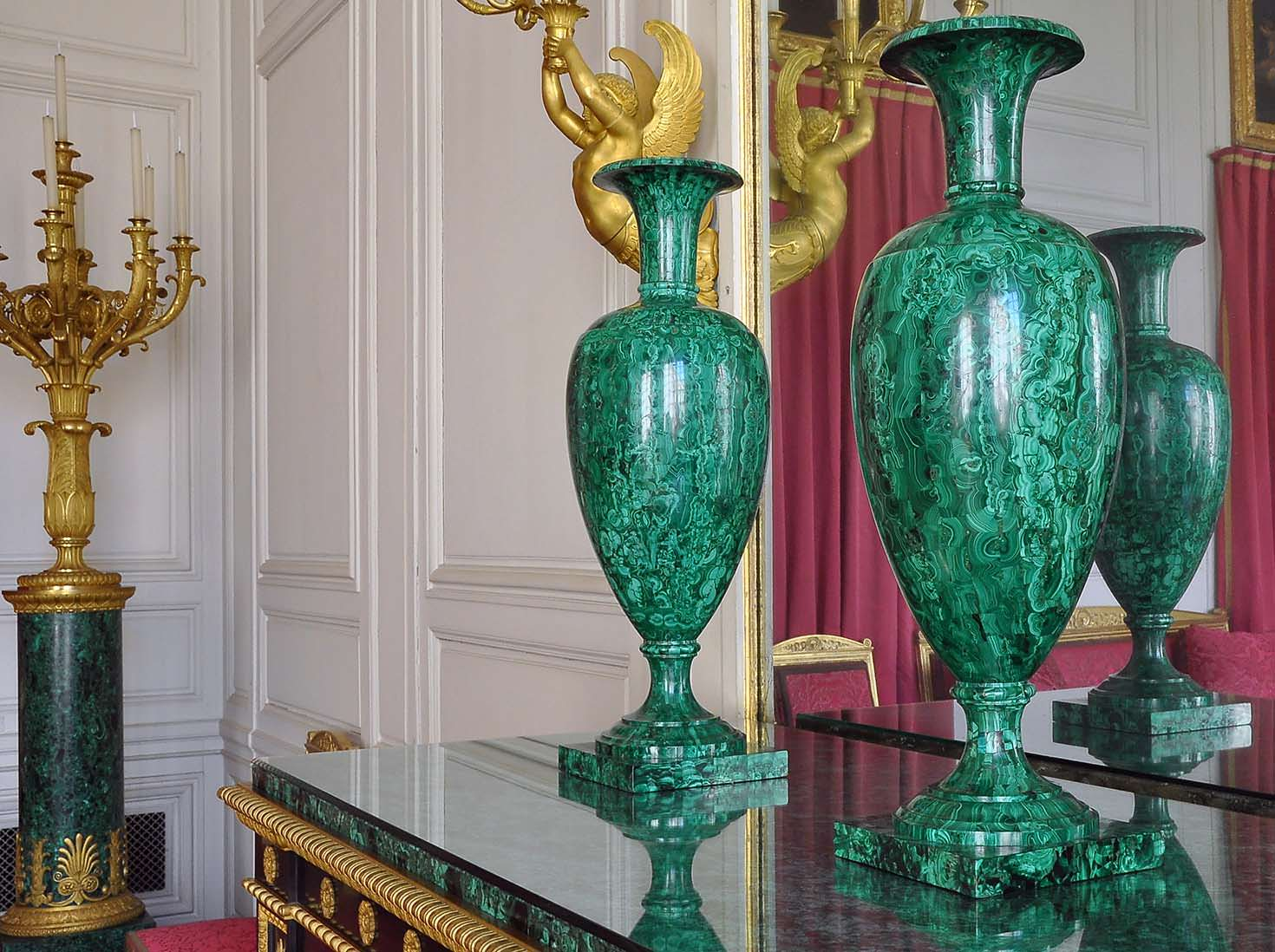 The Malachite room at the Grand Trianon in the Château de Versailles in Versailles, France