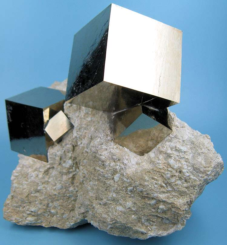 Pyrite cubes on a marlstone matrix