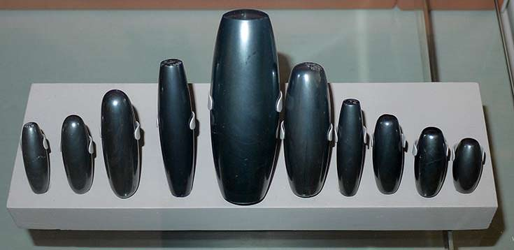 Hematite weights used in ancient Mesopotamia