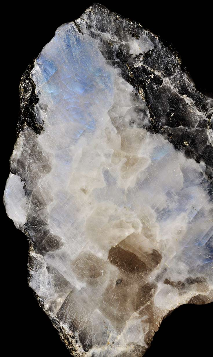 Partly polished moonstone (top-left)