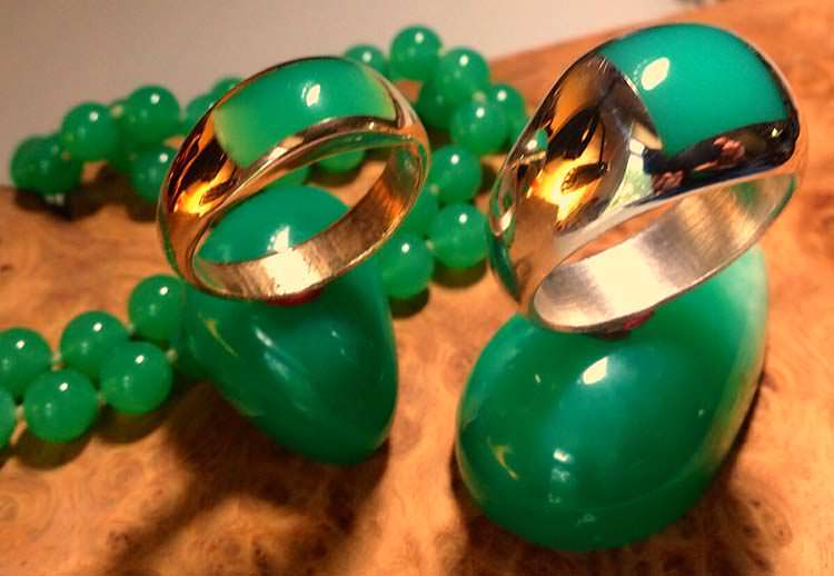 Chrysoprase inlaid rings (gold and sterling)