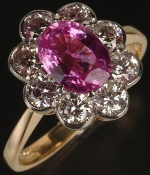 pink sapphire ring gemstone size